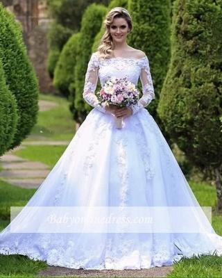 Lace Long-Sleeve Button Princess Zipper Wedding Dress_5