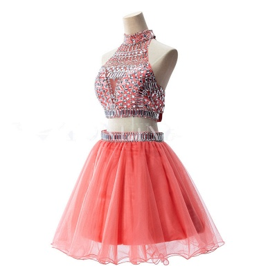 Gorgeous Halter Sleeveless Short Homecoming Dress UK With Crystals_8