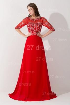 Gorgeous Red Half Sleeve Evening Dress UK Chiffon Beadings_2