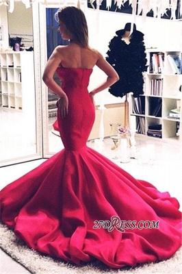 Mermaid Zipper Sweep-Train Sweetheart Red Elegant Evening Dress UK_1