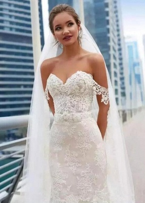 Elegant Off-the-Shoulder Wedding Dress Sweetheart With Lace Sexy Mermaid Bridal Gowns_4