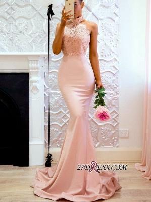 Halter Sexy Lace Mermaid Applique Sweep Train Prom Dress UK BA7727_3