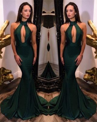 Sexy Halter Sleeveless Evening Dress UK Mermaid Keyhole_1