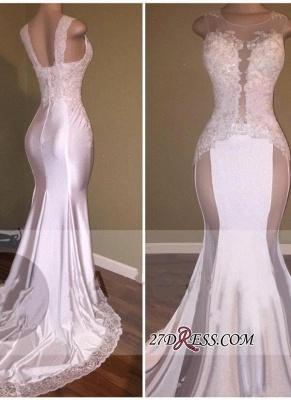 Sheer Lace White Beading Appliques Glossy Elegant Mermaid Prom Dress UKes UK_2