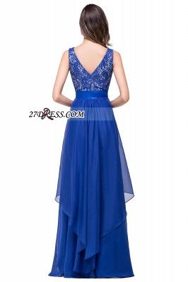 Delicate Chiffon Lace Royal Blue Prom Dress UK A-line Zipper Jewel_5