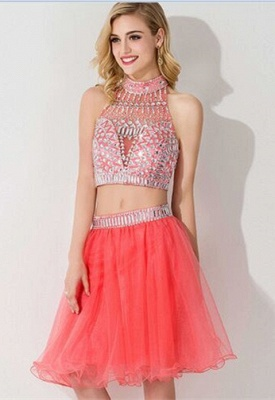 Gorgeous Halter Sleeveless Short Homecoming Dress UK With Crystals_12
