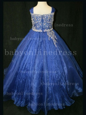 Flower Beaded Ball Gown Dresses for Girls Wholesale Beautiful Junior Pageant Organza Gowns for Sale_3
