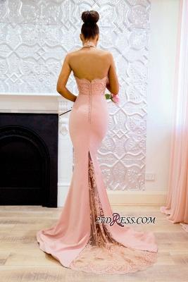 Halter Sexy Lace Mermaid Applique Sweep Train Prom Dress UK BA7727_2