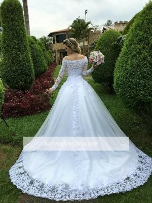 Lace Long-Sleeve Button Princess Zipper Wedding Dress_3