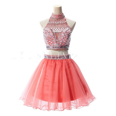 Gorgeous Halter Sleeveless Short Homecoming Dress UK With Crystals_5