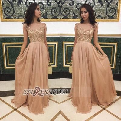 Sexy Jewel Cap Sleeve Evening Dress UK Chiffon Floor-length Appliques Prom Gown_2