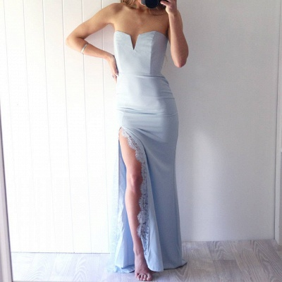 Sexy Sweetheart Mermaid prom Dress UK Front Split Floor Length With Lace_3