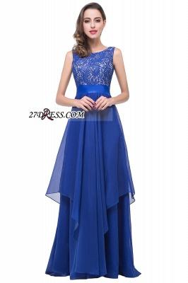 Delicate Chiffon Lace Royal Blue Prom Dress UK A-line Zipper Jewel_1