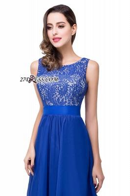 Delicate Chiffon Lace Royal Blue Prom Dress UK A-line Zipper Jewel_4