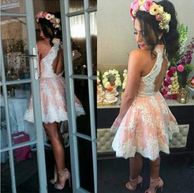 Lace Lovely High-Neck Short Sleeveless Homecoming Dress UK BA3646_3