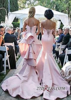 Luxury Pink Lace-Up Mermaid Bridesmaid Dress UK Long AH094_3