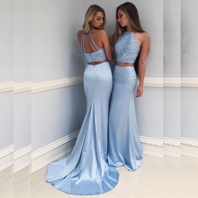 Sexy Halter Two Piece Prom Dress UK Mermaid Long With Crystals BA7677_3
