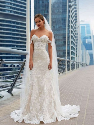 Elegant Off-the-Shoulder Wedding Dress Sweetheart With Lace Sexy Mermaid Bridal Gowns_1