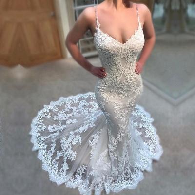 Gorgeous V-Neck Lace Wedding Dress | 2019 Sexy Mermaid Spaghetti-Straps Bridal Gown_3