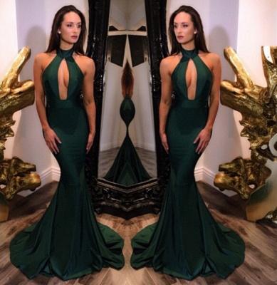 Sexy Halter Sleeveless Evening Dress UK Mermaid Keyhole_3