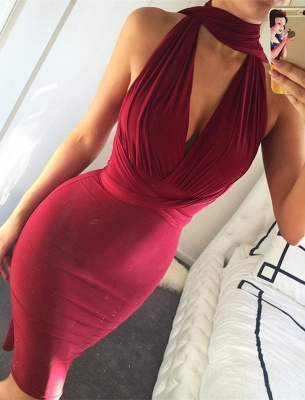 Charming Burgundy High-Neck Short Prom Dress UK Mermaid Tight BA3913_1