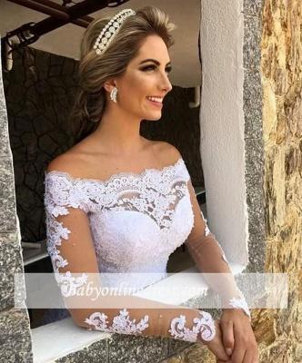 Lace Long-Sleeve Button Princess Zipper Wedding Dress_4
