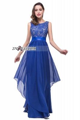 Delicate Chiffon Lace Royal Blue Prom Dress UK A-line Zipper Jewel_3