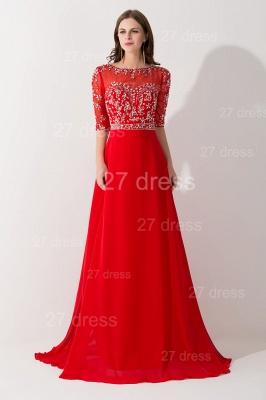 Gorgeous Red Half Sleeve Evening Dress UK Chiffon Beadings_1