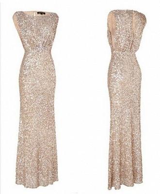 Simple Mermaid Floor Length Bridesmaid Dress UKes UK Sequined Popular Wedding Party Dress UKes UK_1