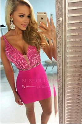 V-neck Short Homecoming Sheath Elegant Fuchsia Beaded Sexy Dress UKes UK_1