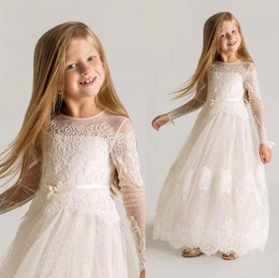 Modern Tulle Lace A-line Flower Girl Dress Long Sleeve_2