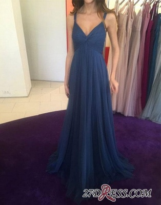 Long V-neck Blue Simple Chiffon Evening Dress UK_2