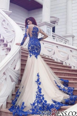 Long-Sleeve Mermaid Gorgeous Appliques Tulle Evening Dress UK_2