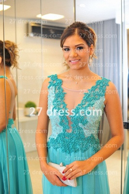 De Long Blue Lace Prom Dress UK Lindo Vstidos Womens Evening Party Gowns Applique Beading Chiffon_2