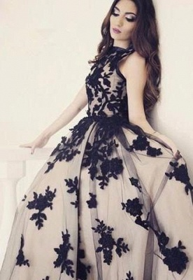 Apppliques Sexy Scoop-Neckline Ball-Gown Sweep-train Prom Dress UK lpl074_4