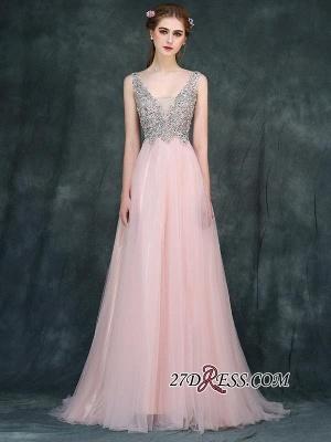 Long Beaded Luxury V-Neck Backless Pink A-line Prom Dress UKes UK BA4011_3