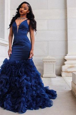 V-Neck Prom Dress UK | Ruffles Mermaid Evening Dress UK BA8435_1