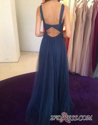 Long V-neck Blue Simple Chiffon Evening Dress UK_1