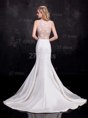 Newest Illusion Sleeveless Sexy Mermaid Wedding Dress Sweep Train_3