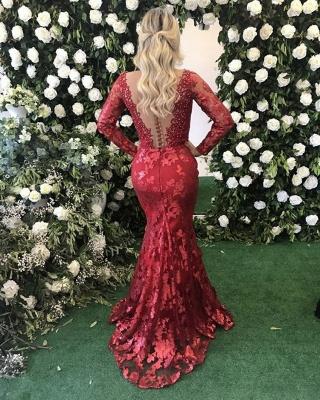 Modest Deep V-neck Lace Mermaid Evening Dress UK   Long Sleeve Evening Gown_3