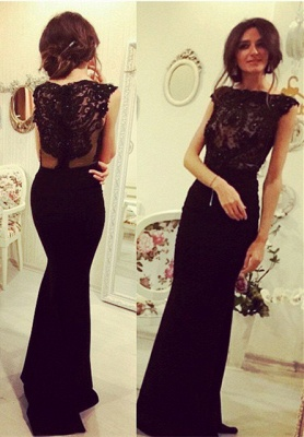 Sexy Black Sleeveless Mermaid Evening Dress UK Lace Appliques Beadings_1