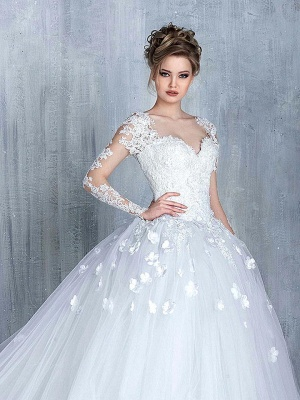 Elegant Long Sleeve White Wedding Dress tulle Ball Gown Appliques_1