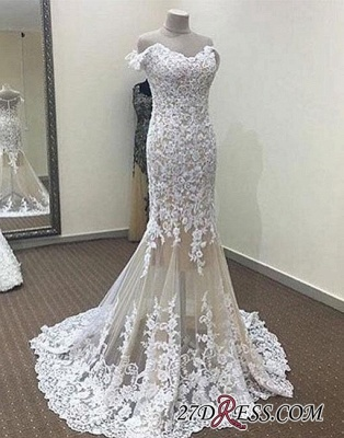 Lace White Off-the-shoulder Long Mermaid Evening Dress UK_1