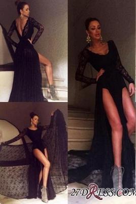 Black Elegant Sweep-Train Lace Long-Sleeve Prom Dress UK BA4357_3