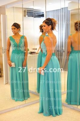 De Long Blue Lace Prom Dress UK Lindo Vstidos Womens Evening Party Gowns Applique Beading Chiffon_3