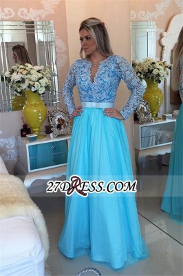 Long Sleeve Lace Evening Dress UK V-neck Blue Chiffon Prom Dress UK_2