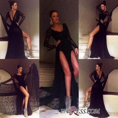 Black Elegant Sweep-Train Lace Long-Sleeve Prom Dress UK BA4357_2
