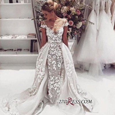 Cap-Sleeves Lace Illusion Overskirt Appliques Popular Open-Back Wedding Dress_1
