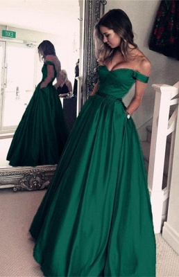 Sexy Off-the-Shoulder Evening Dress UK | Green Long Prom Dress UK_1