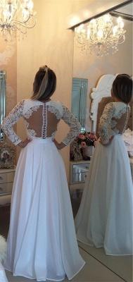 Elegant Long Sleeve Pearls Wedding Dresses UK A-Line Lace Floor Length BT0_3